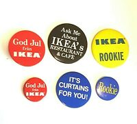 Ikea Pin Back Button Promotional Vintage Employee Tin Metal Rookie God Jul fran