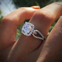 Fashion Women 925 Silver Wedding Ring Round Cut White Sapphire Ring Size 6-10 ~