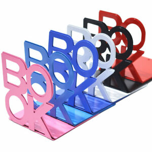 Colourful Heavy Duty Metal Book Ends Letter Style Bookends Office Station_yk