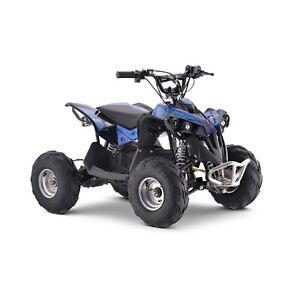 Electric Quad Bike Shaft Drive 1200W Motor, Big 48V Kids, 3 Speed, 20mph, Blue