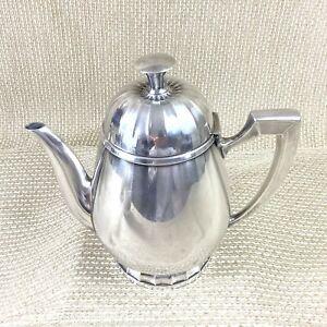 Christofle Teapot Tea Pot Vintage French Art Deco Silver Plated Geometric
