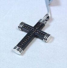 David Yurman Men's Titanium Black Diamond Royal Cord Cross Pendant $975 NWT