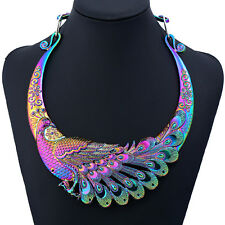 Pfau Regenbogen lila blau grün rosa gelb Glamour Design Halskette Kette Collier
