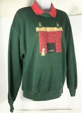 Womens Large Green Holiday Ugly Christmas Sweater VINTAGE Cat Fireplace Jerzees
