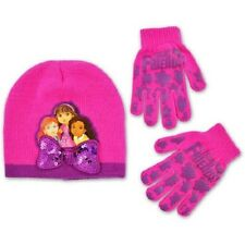 Dora and Friends Pink bow knit beanie hat with gripper glove set One Size NWT