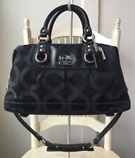COACH Madison Sabrina Black Signature OP ART Satchel Handbag Shoulder Bag 12947