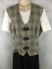 Miss Dorby Women's Mock Vest Black White Beige Tie Back Crinkle Size 14 Long