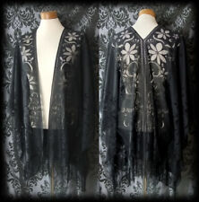Gothic Black Sheer Lace DECEPTION Fringed Shrug Kimono 14 16 Vintage Pin Up