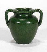 Merrimac Pottery 2 hndl urn shape vase arts & crafts matte green feathered glaze