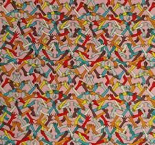 2 YARDS Holding Hands By Free Spirit PINK 100% Cotton Fabric 44