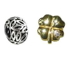 *New* set of 2 Rhona Sutton 925 sterling silver charm beads - clover & filigree