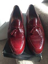 NIB Stacy Adams Picone Red Loafers Genuine Snakeskin 11 M