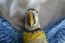 Resin Blue & Gold Macaw Parrot In Flight Wall Decor by Design Toscano