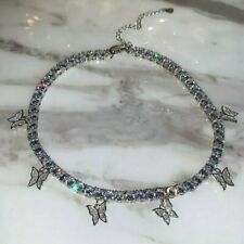 Fashion Silver Crystal Rhinestone Butterfly Pendant Necklace Clavicle Choker Hot