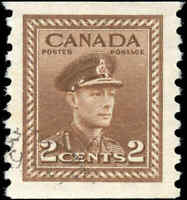 1948 Used Canada VF Scott #279 2c Coil War Issue Stamp