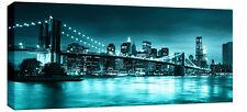 Large Teal Turquoise Brooklyn Bridge Canvas New York Wall Art 113cmx 52 cm