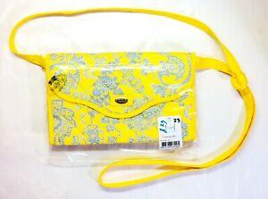 """NaRaYa Yellow & Gray Pattern Purse / Handbag, 8"""" x 5.5"""", NEW shoulder bag"""