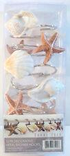 Set / 12 Coral Isle Shower Curtain Hooks Sea Shells - NEW