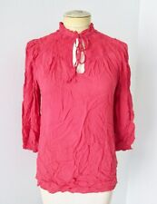 Odille Anthropologie coral red smocked high neck peasant blouse pirate top 2