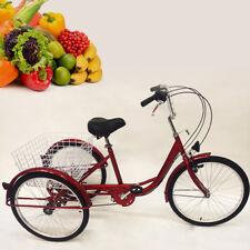 """Red 24"""" 3 RUOTA Triciclo adulto 6-SPEED anziani Cargo Bicicletta Triciclo + CESTELLO Lampada"""