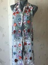 Irish crochet lace scarf with pansy