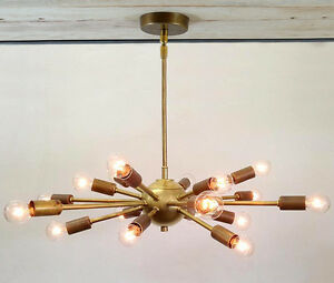 18 Light Mid Century Brass Sputnik atomic chandelier starburst light Fixture