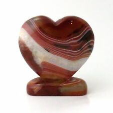 490g Red Agate Stone Heart - 3.9 inches - Beautiful - Crystals - w/ Base - LOVE