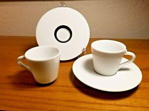 Set of 2 Nespresso Ritual Espresso Demi Porcelain Cups  & Saucers ANDREE PUTMAN