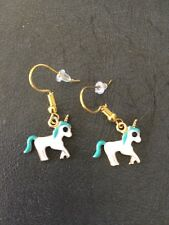 Unicorn Earrings White and turquoise enamel 16 mm wide Gold hooks AUSSIE  Seller