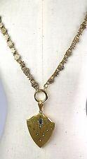 Antique Victorian Gold Front Book Chain Necklace Pendant Lg Locket Paste RARE