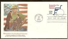 US SC # U605 Remember Our Paralized Veterans FDC, Fleetwood Cachet.