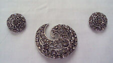 Vintage Rhinestone & Silver Brooch & Earrings Set; 70's