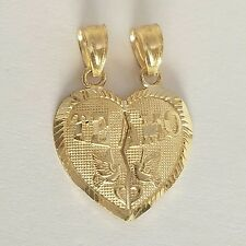 "10k real solid Yellow Gold 2 piece Te Amo Split Heart Pendant Charm .75"" long"