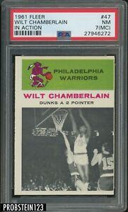 1961 Fleer Basketball #47 Wilt Chamberlain In Action RC Rookie HOF PSA 7 NM (MC)