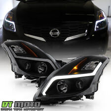 For 2008-2009 Altima Coupe Black Smoked LED Tube Projector Headlights Headlamps