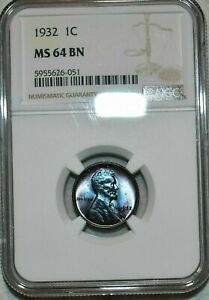 NGC MS64 BN 1932-P Lincoln Cent Beautifully Toned Specimen