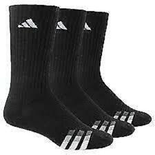 Adidas Cushioned Crew Socks Black White  Sz Large  6-12 3 Pair  5146065A