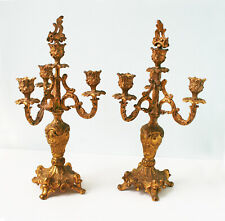 "Pair of Antique Gilded Pewter Candelabra, Circa 1900  16"" Tall"