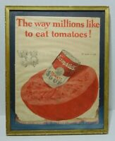 Old Vintage 1924 Campbell's Tomato Soup Framed Advertisement Advertising Sign