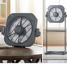 "Air Innovations FAN08 12"" Swirl Cool Box Fan Tabletop/Stand Platinum Silver"