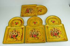4 Vintage Paper Mache Trays Floral Hand Painted Snack Drink Serving ISCO Japan