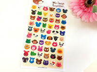 2D Smile Animal Sticker Scrapbook card DIY gift Kids Party Panda Dog Bear Monkey