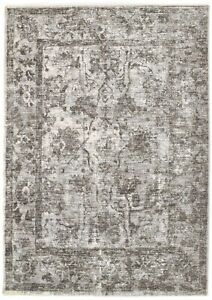 Light Blue Beige Vintage Faded Distress Classic Contemporary Style Silk Like Rug