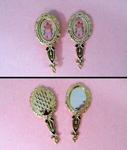 Vintage Clone Barbie Doll Accessories - GOLD BRUSH & MIRROR - Metallic & Roses