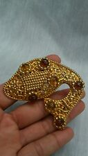Statement  vintage Dominique Aurientis amber gripoix  gold tone fish pin brooch