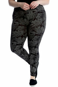 New Womens Plus Size Leggings Ladies Tie Dye Rose Floral Print Pants Elasticated
