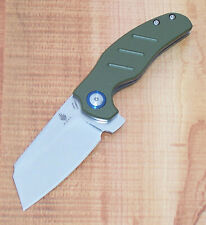 KIZER V3488C2 MINI SHEEPDOG C01C FOLDING FLIPPER KNIFE 154CM STAINLESS GREEN G10