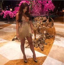 The Dolls House Lana Rose Gold Sequin Cami Tassel Fringe Semi Sheer Mini Dress M