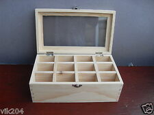 12 Compartments Plain Pine wood Herbal storage Top acrylic box  26*15*10 cm