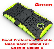 Green Heavy Duty Strong Tradesman TPU Hard Case Cover Stand For Google Nexus 6